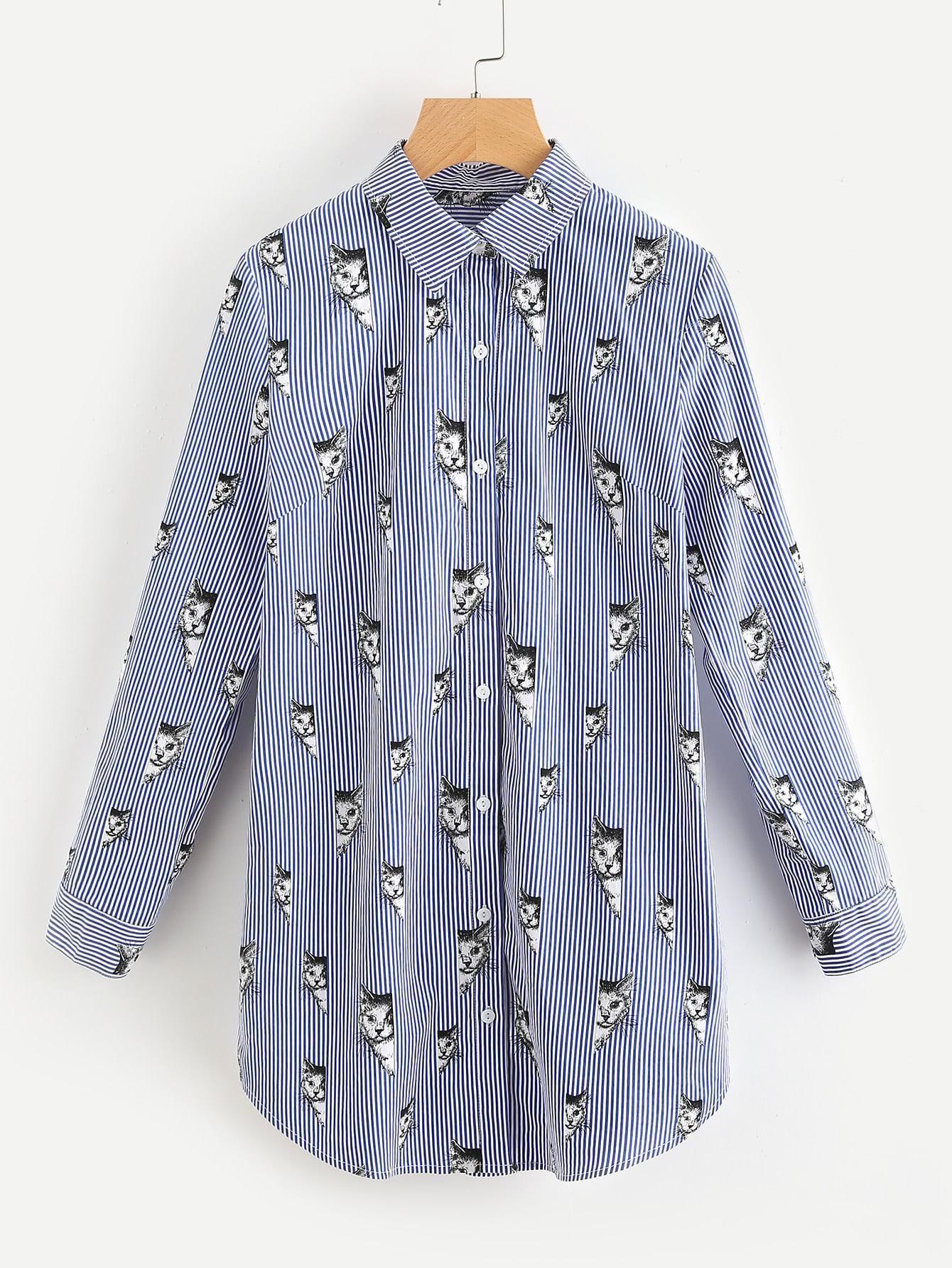 Cat Stripe Print Roll Tab Sleeve Curved Shirt Dress stoosh new salmon juniors roll tab sleeve plaid shirt s $34 dbfl
