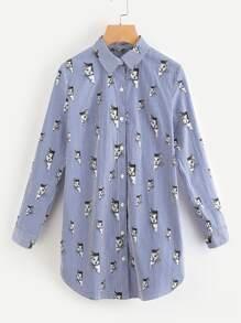 Cat Stripe Print Roll Tab Sleeve Curved Shirt Dress