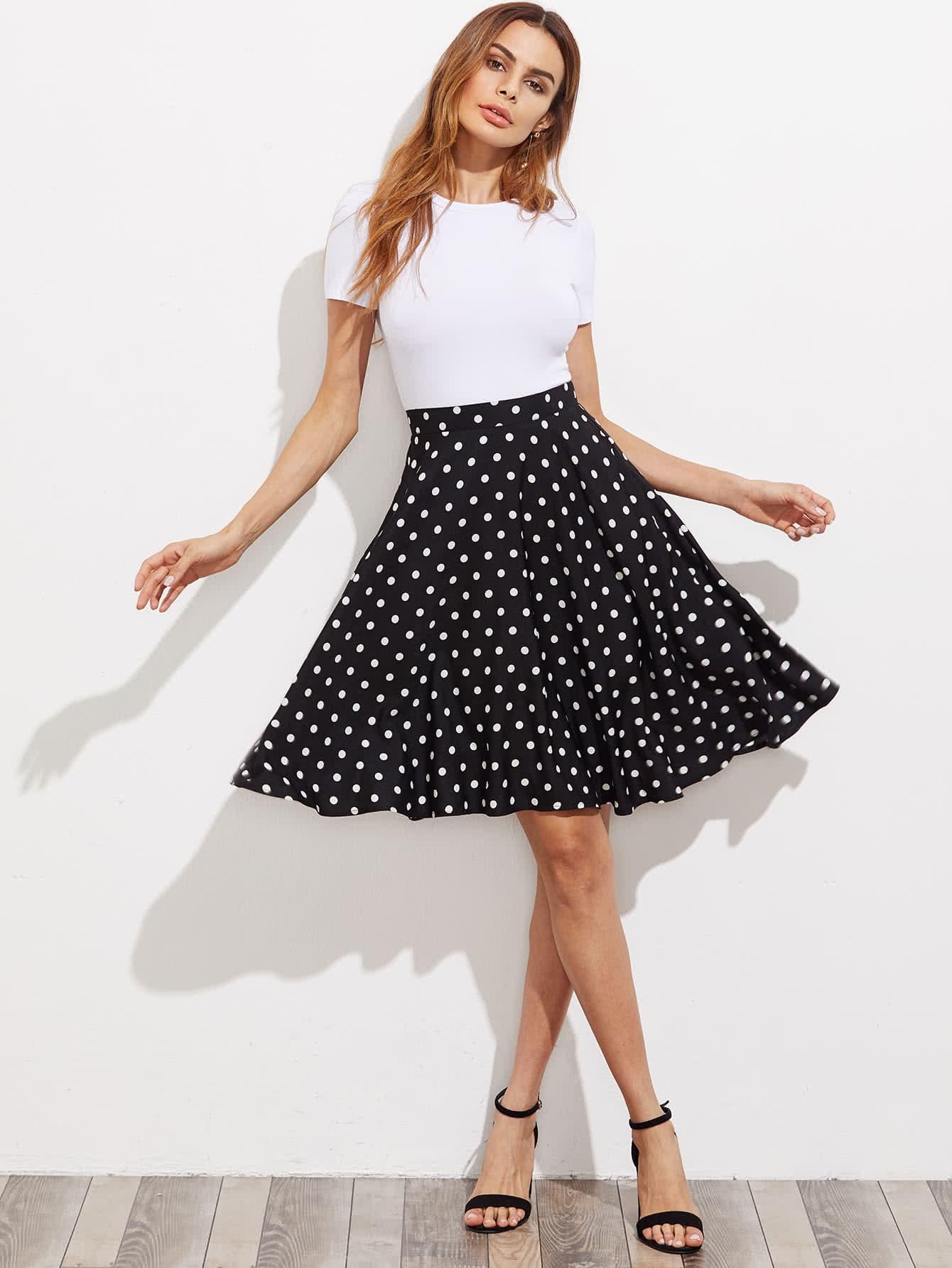 Фото Hidden Pocket Detail Polka Dot Circle Skirt. Купить с доставкой