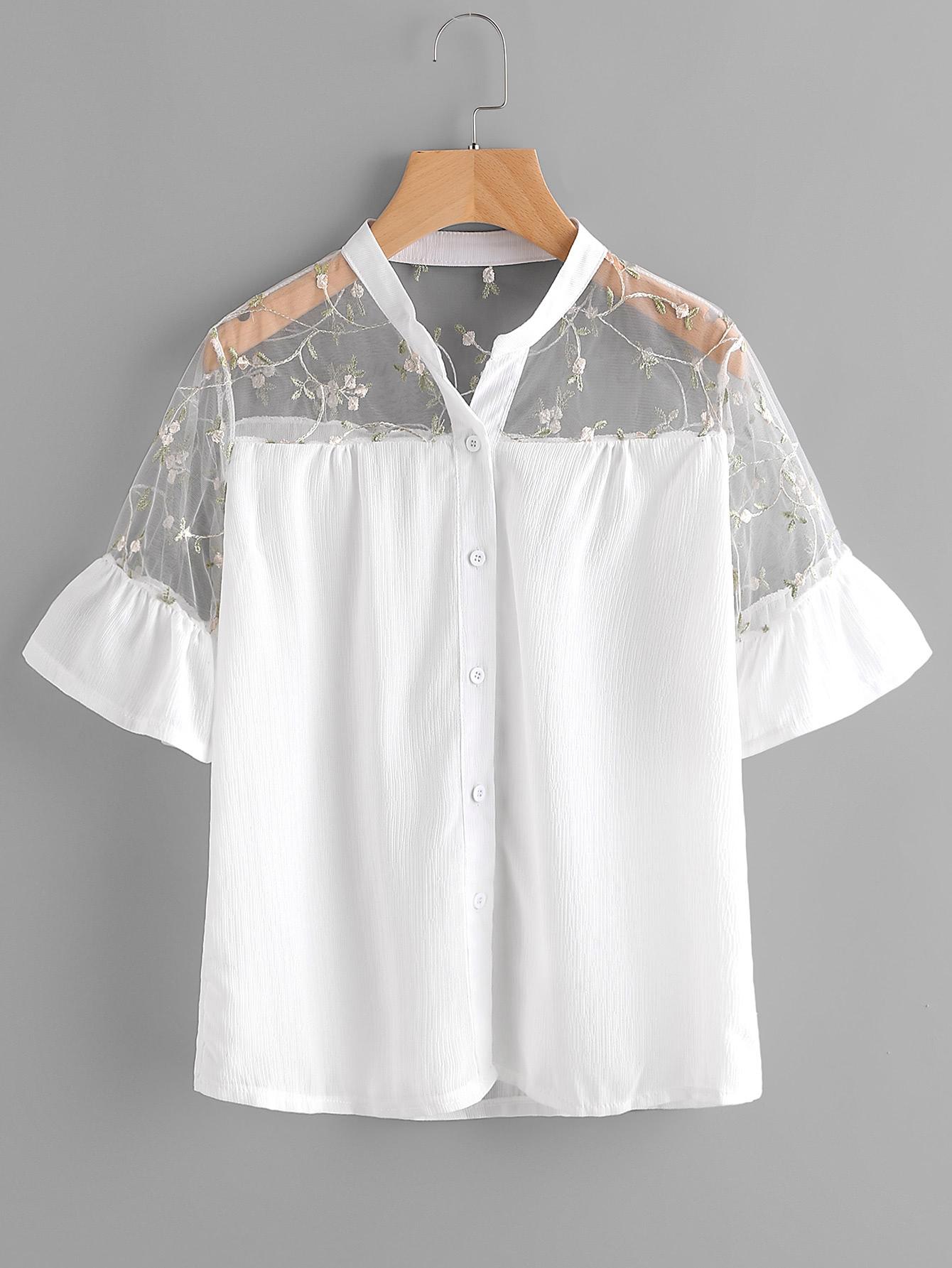 Embroidery Mesh Yoke Frill Cuff Shirt
