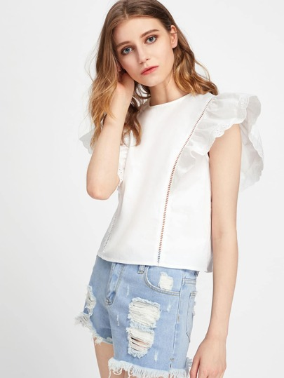 Ladder Lace Panel Eyelet Embroidered Flutter Sleeve Top