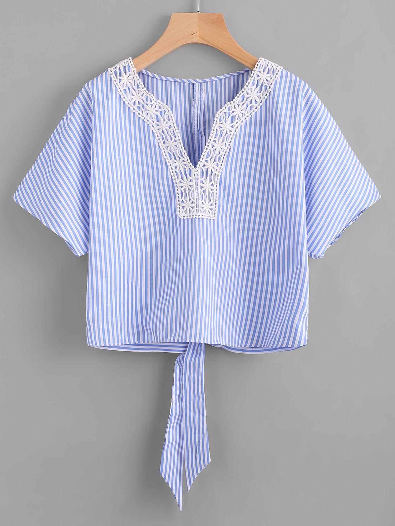 Фото Pinstripe Contrast Lace Knot Back Top. Купить с доставкой