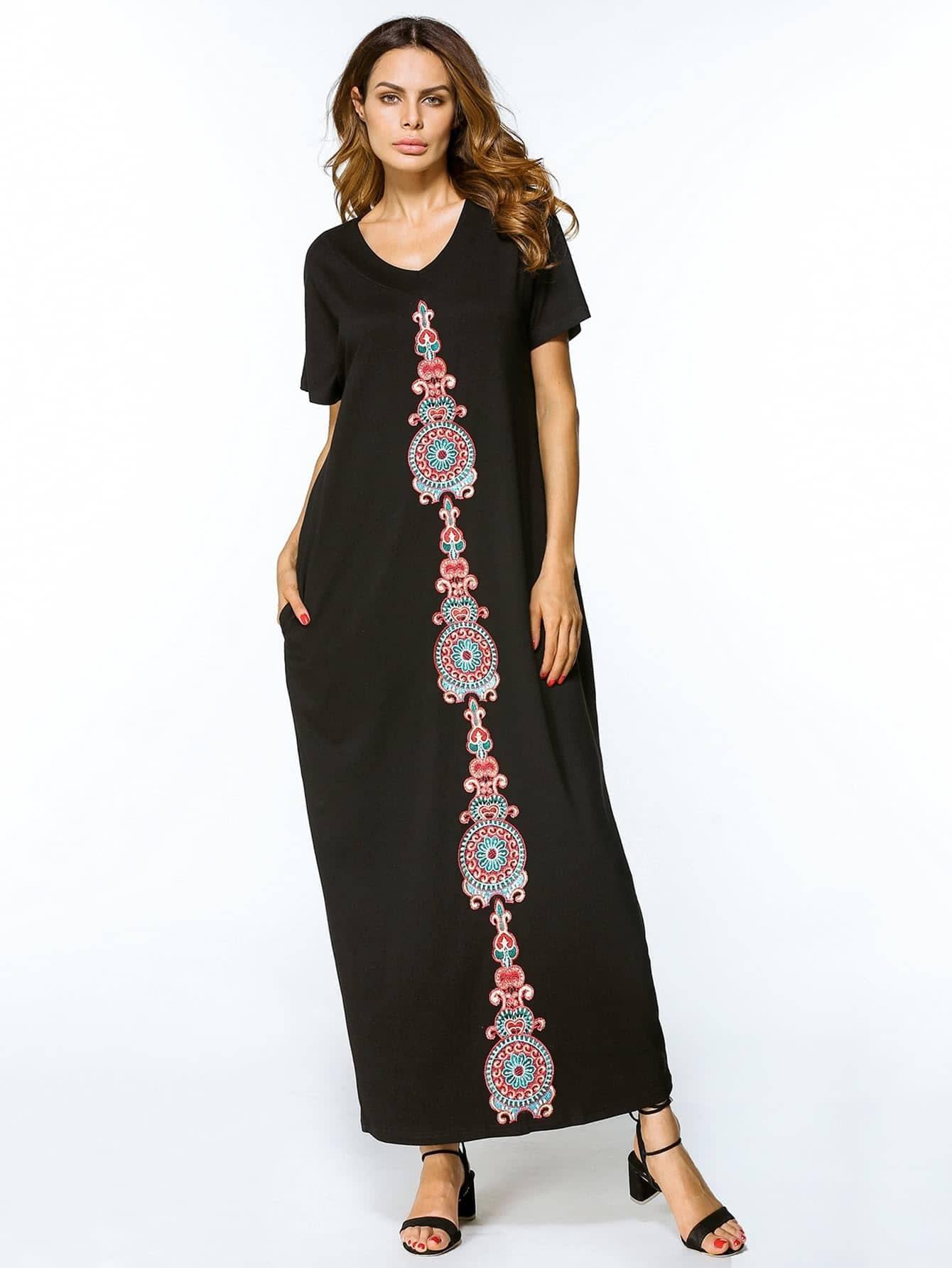Фото Embroidered Appliques Cocoon Dress. Купить с доставкой