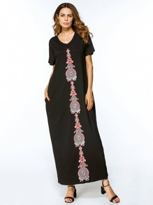 Embroidered Appliques Cocoon Dress
