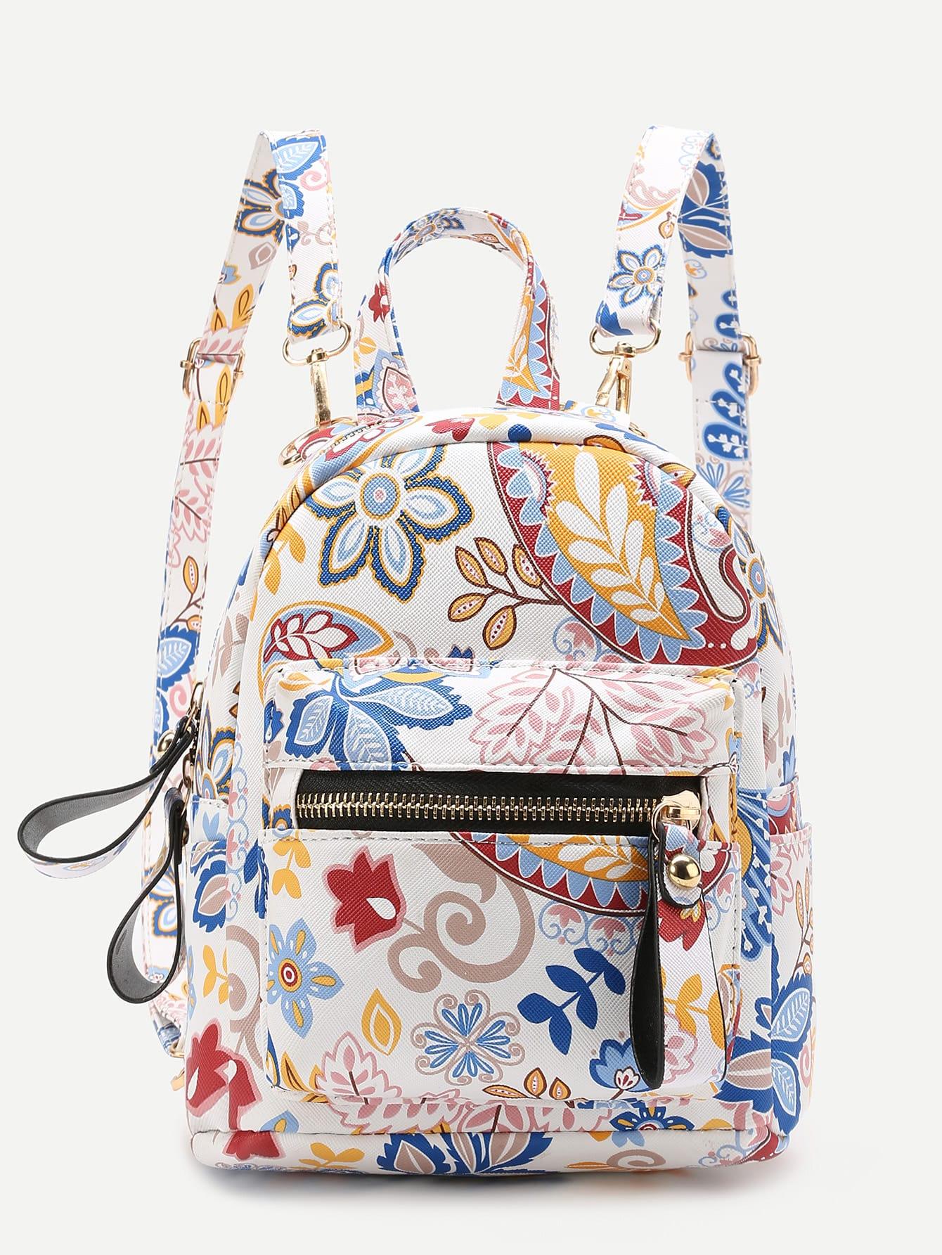 Фото Calico Print Front Zipper PU Backpack With Adjustable Strap. Купить с доставкой