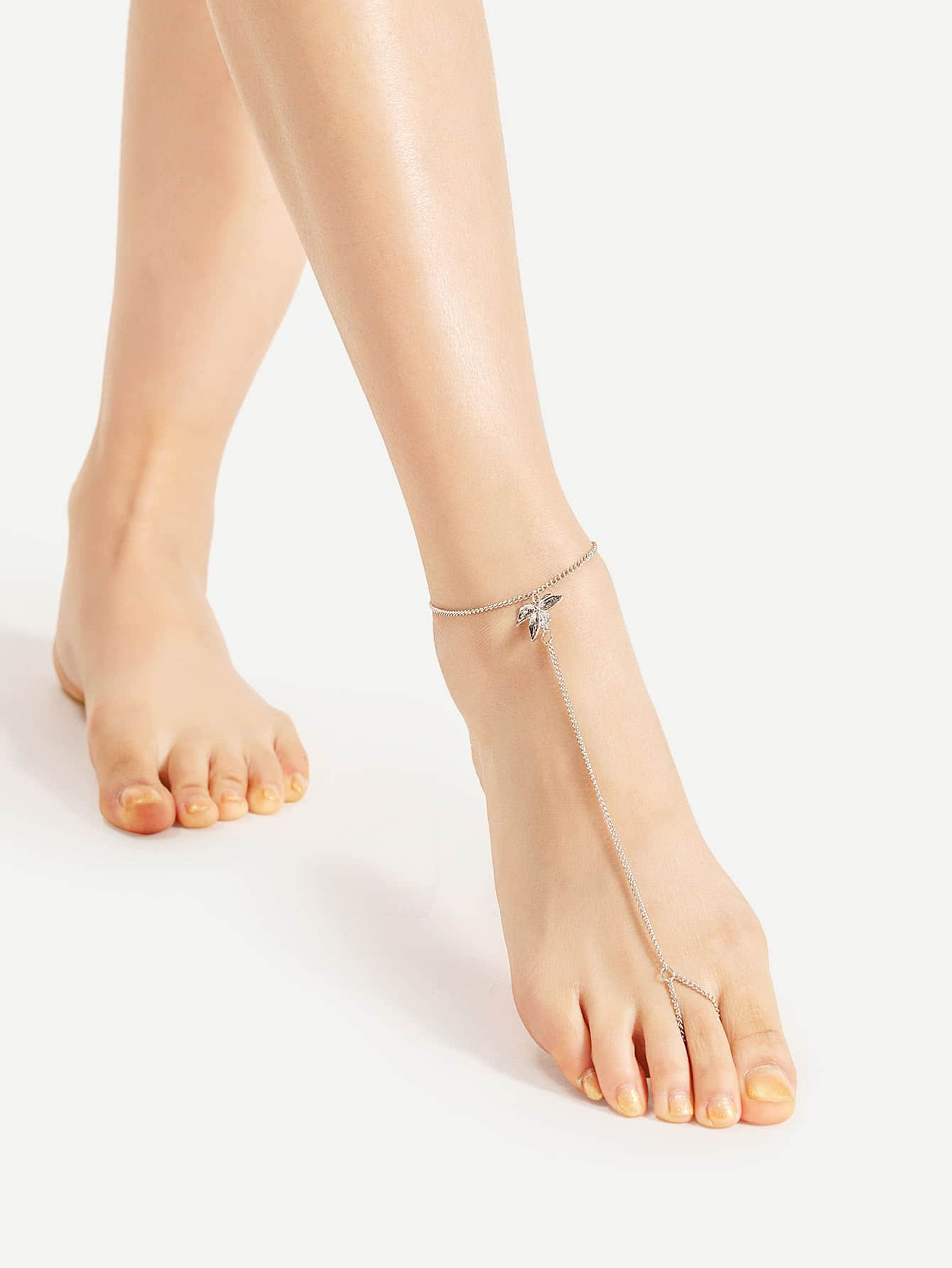 Metal Flower Detail Anklet With Toe Ring body170524301