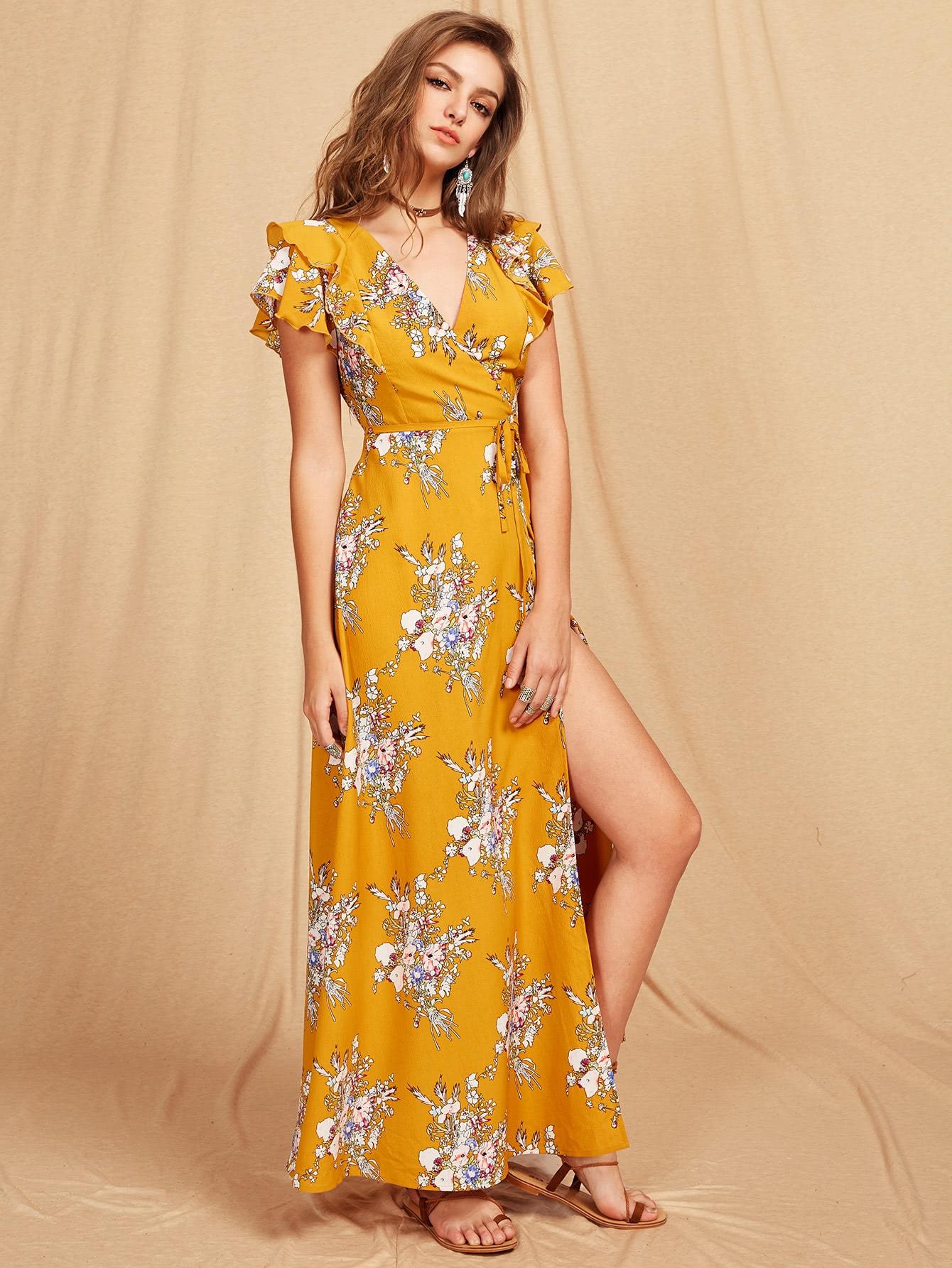Flutter Sleeve Crisscross Back Surplice Wrap Botanical Dress notch collar lantern sleeve wrap botanical dress