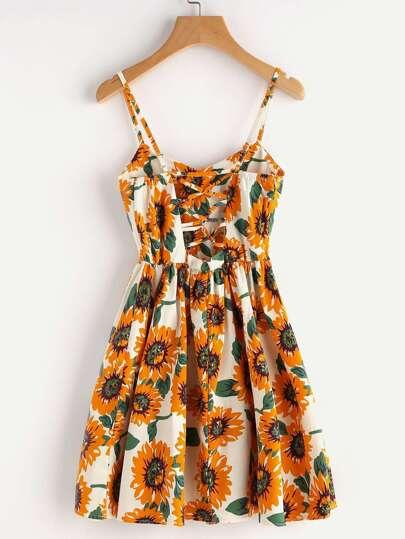 SheIn / Random Sunflower Print Crisscross Back A Line Cami Dress