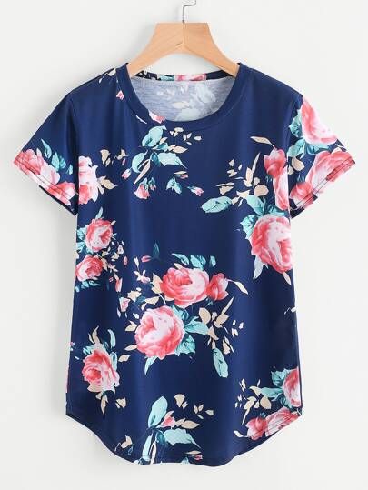 Florals Curved Hem Tee