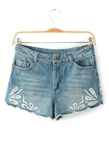 Shorts creux brodé en denim