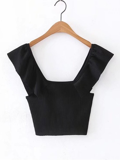 Square Neck Ribbed Crop Tee