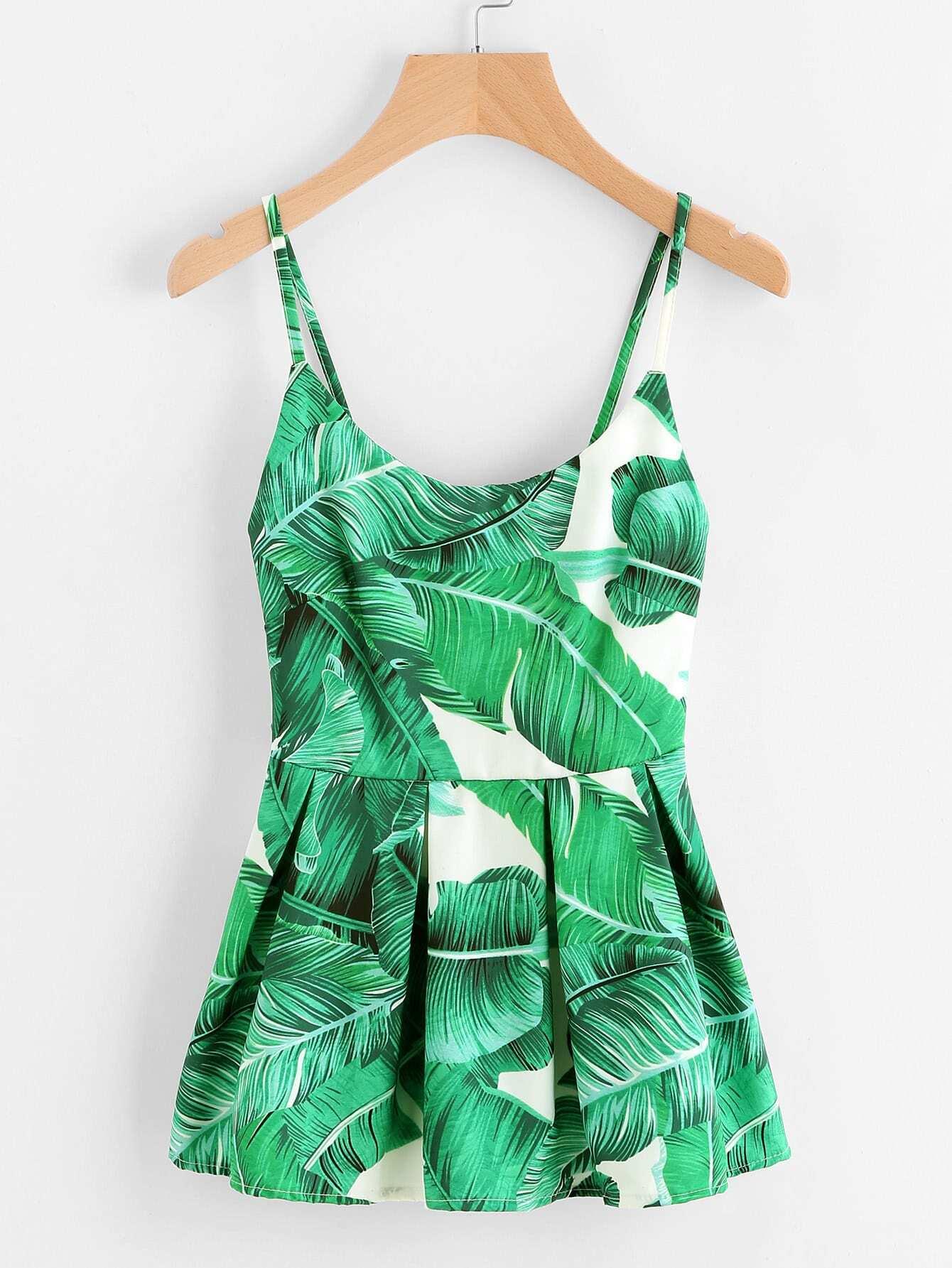 Фото Palm Leaf Print Peplum Cami Top. Купить с доставкой