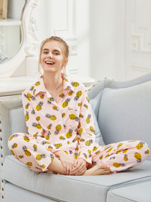 Pineapple Print Revere Collar Pajama Set