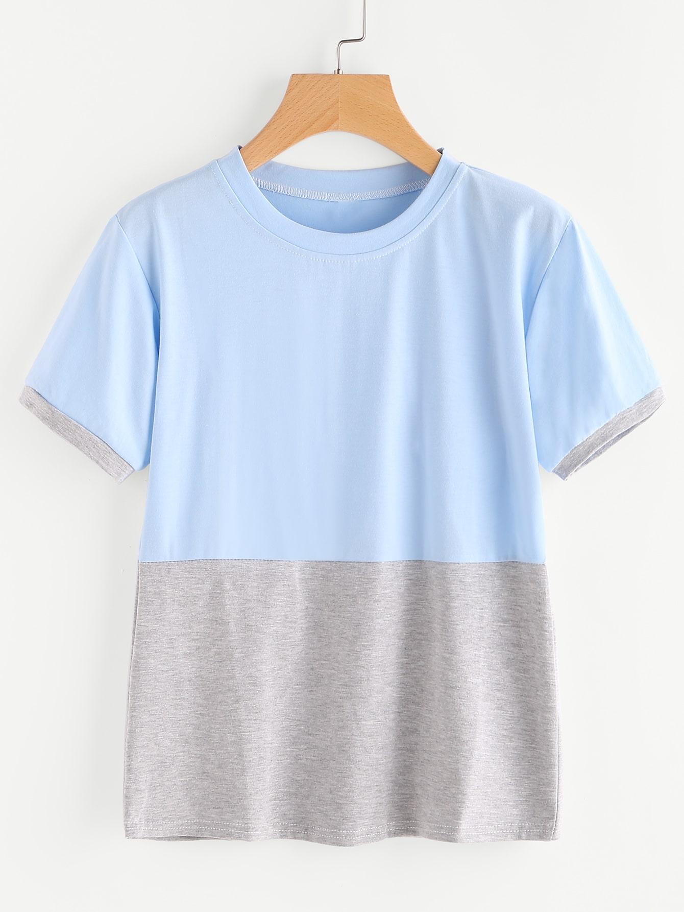 Фото Contrast Cut And Sew T-shirt. Купить с доставкой