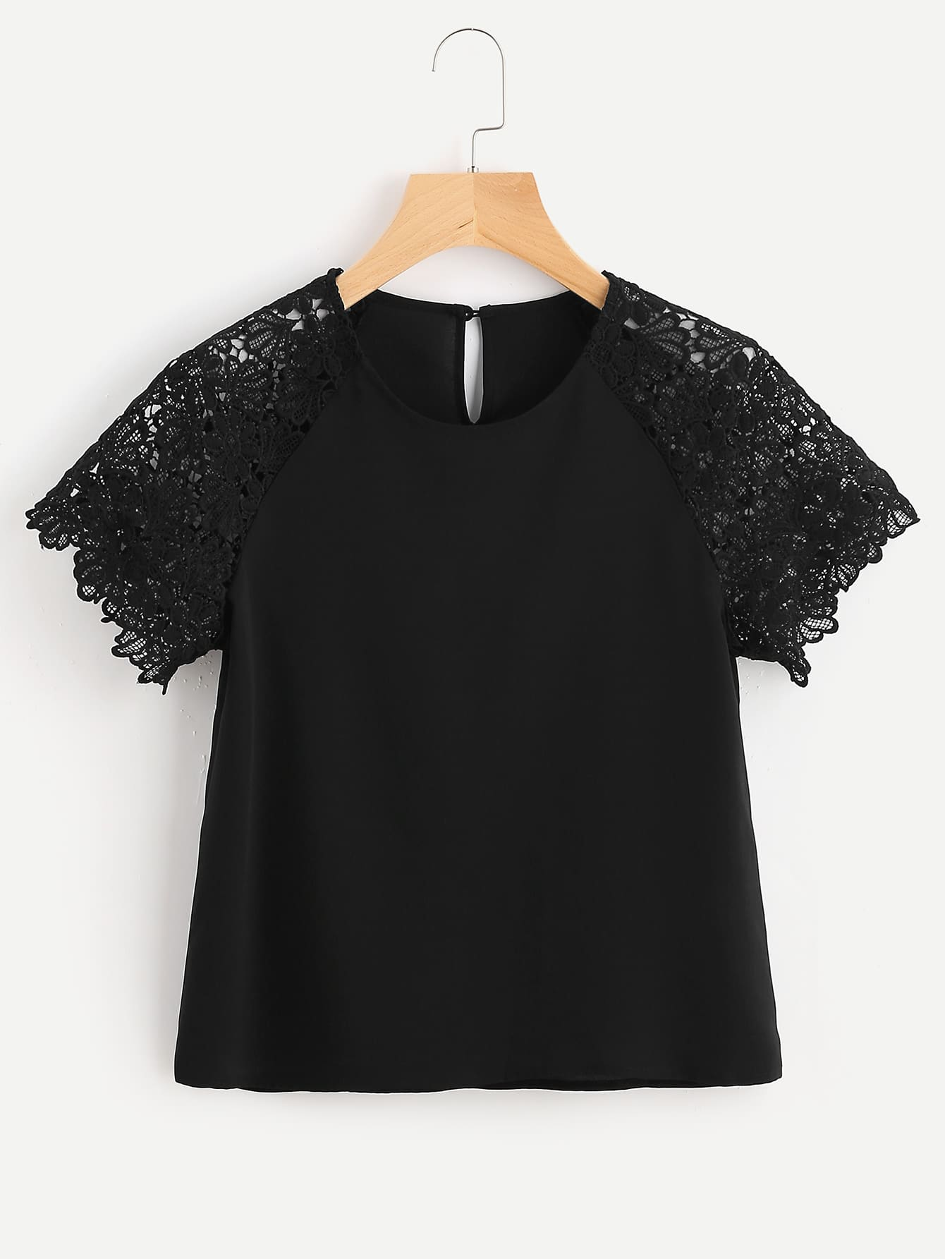 Buttoned Keyhole Back Floral Lace Raglan Sleeve Top lace yoke buttoned back top
