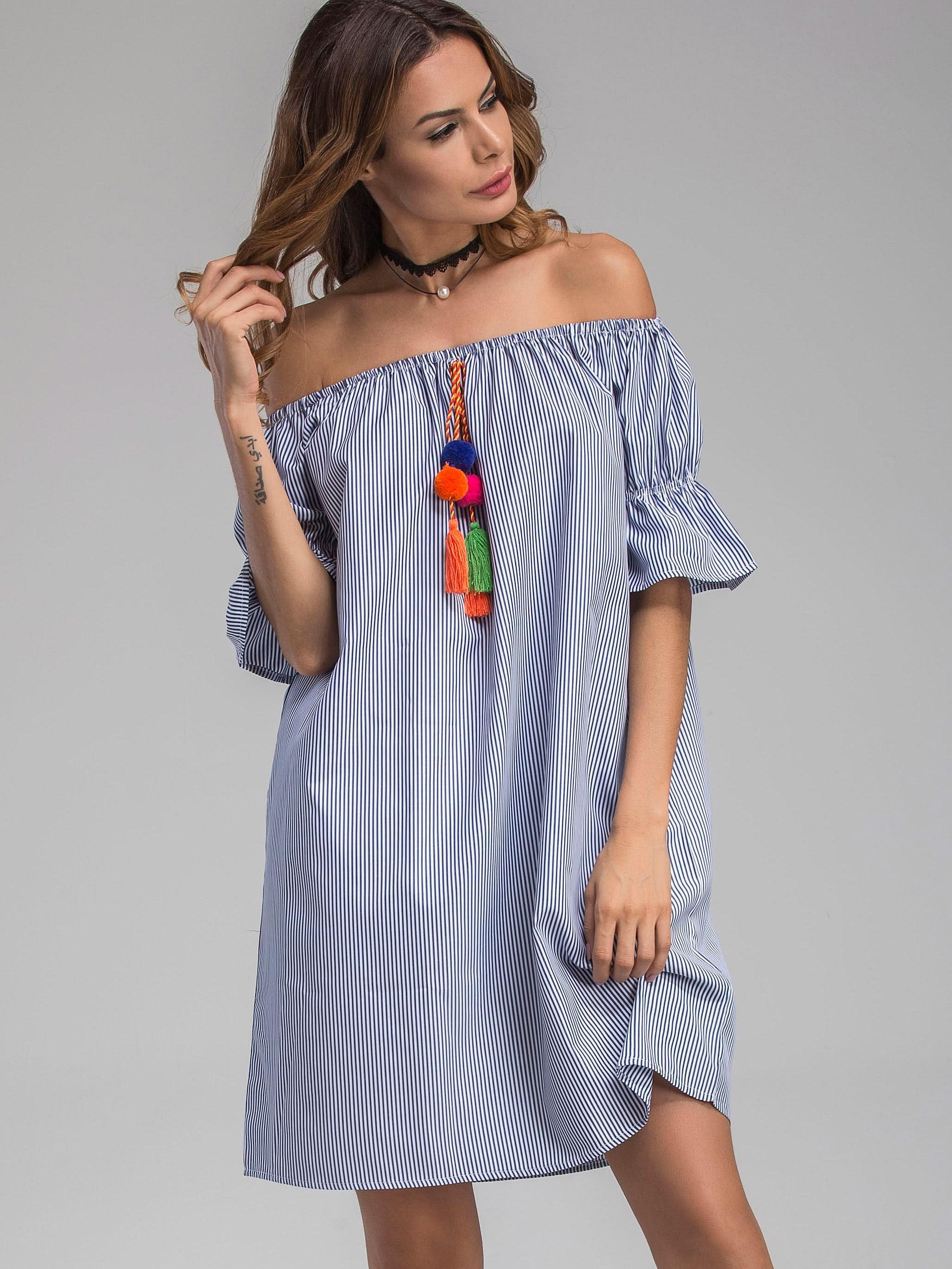 Фото Bardot Vertical Striped Bell Cuff Dress With Pom Pom. Купить с доставкой