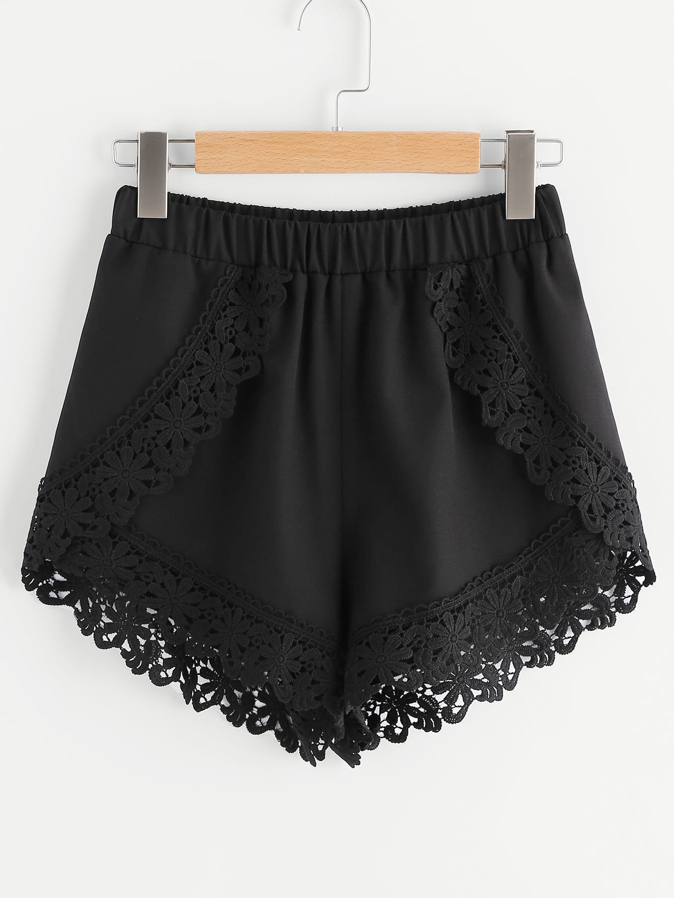 Elastic Waist Floral Lace Trim Wrap Shorts bohemian elastic waist lace spliced floral print shorts for women