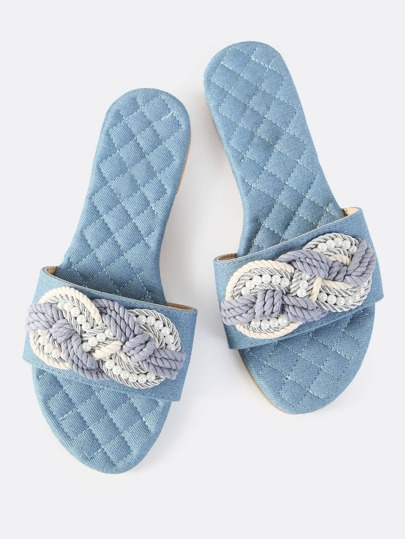 Quilted Denim Thread Slip On Sandals DENIM