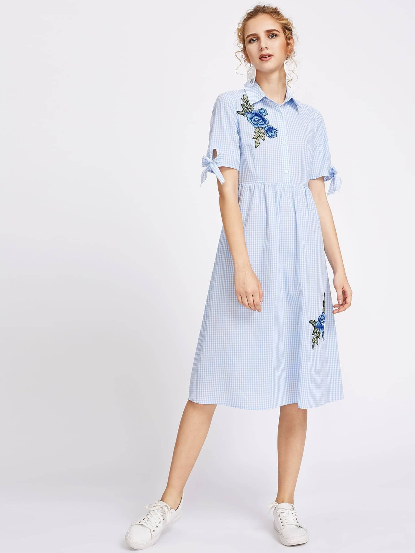 Фото Flower Patch Tie Sleeve Partial Placket Gingham Dress. Купить с доставкой