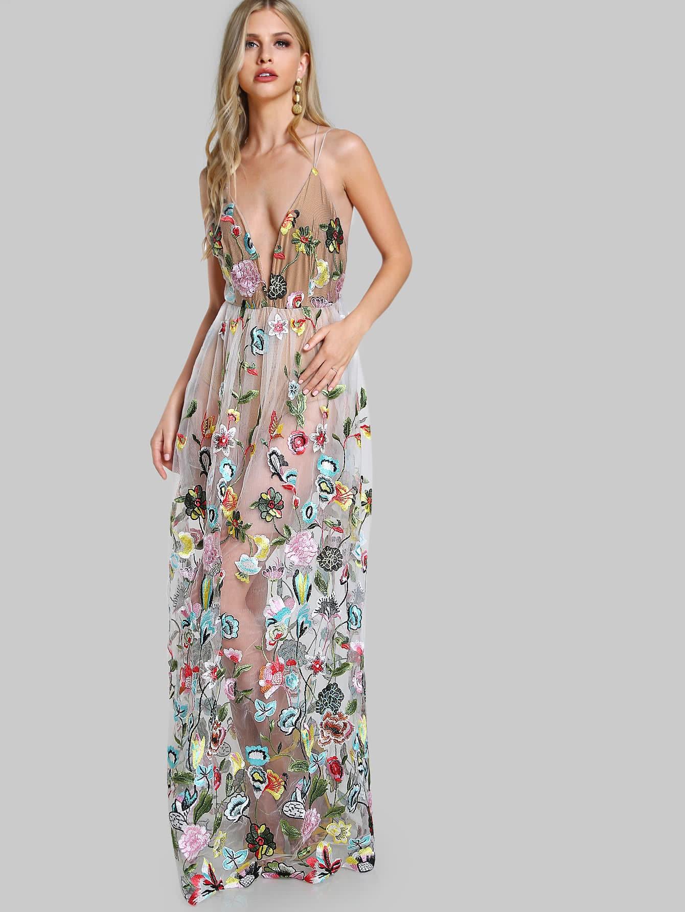 Купить Модное платье с вышивкой и сетчатой вставкой, Marina Laswick, SheIn