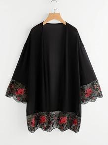 Floral Crochet Trim Kimono