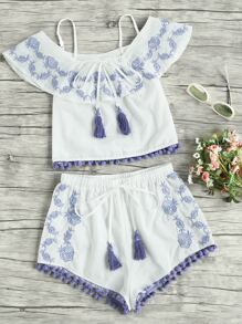 Pom Pom Trim Embroidered Frill Top And Shorts Co-Ord