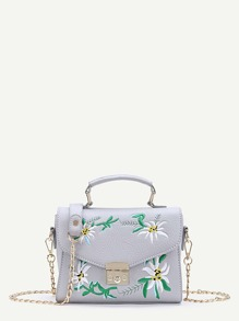 Flower Embroidery Chain Bag