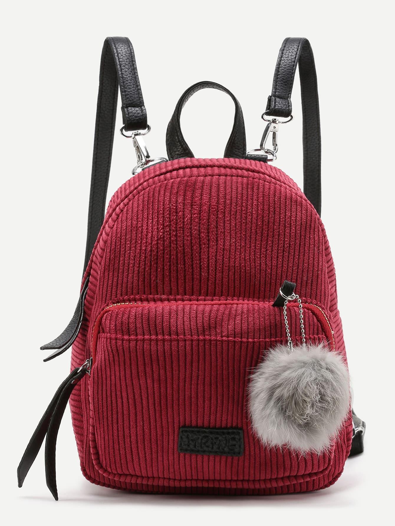 Фото Pom Pom Decorated Corduroy Backpack. Купить с доставкой