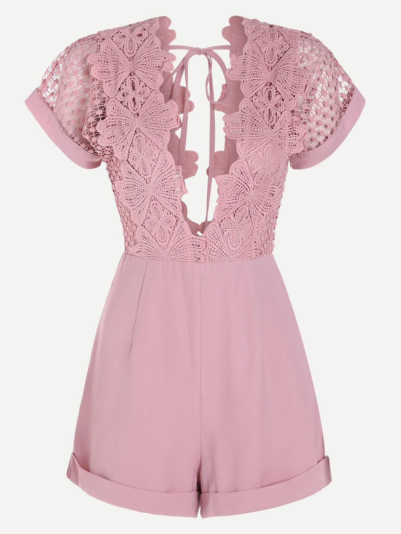 Фото Plunging V-Neckline Contrast Lace Playsuit. Купить с доставкой