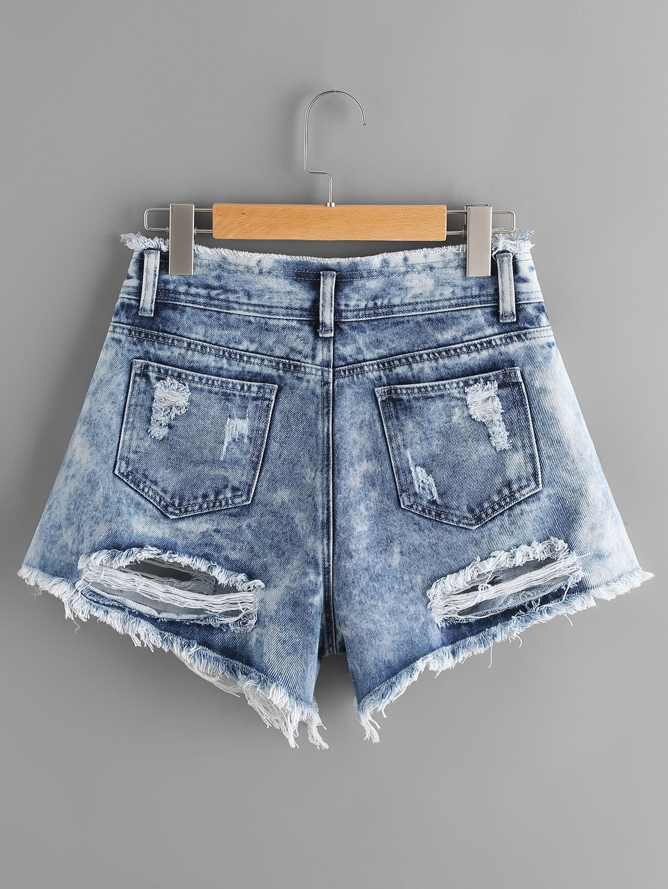 cloud wash destroyed denim shorts sheinsheinside