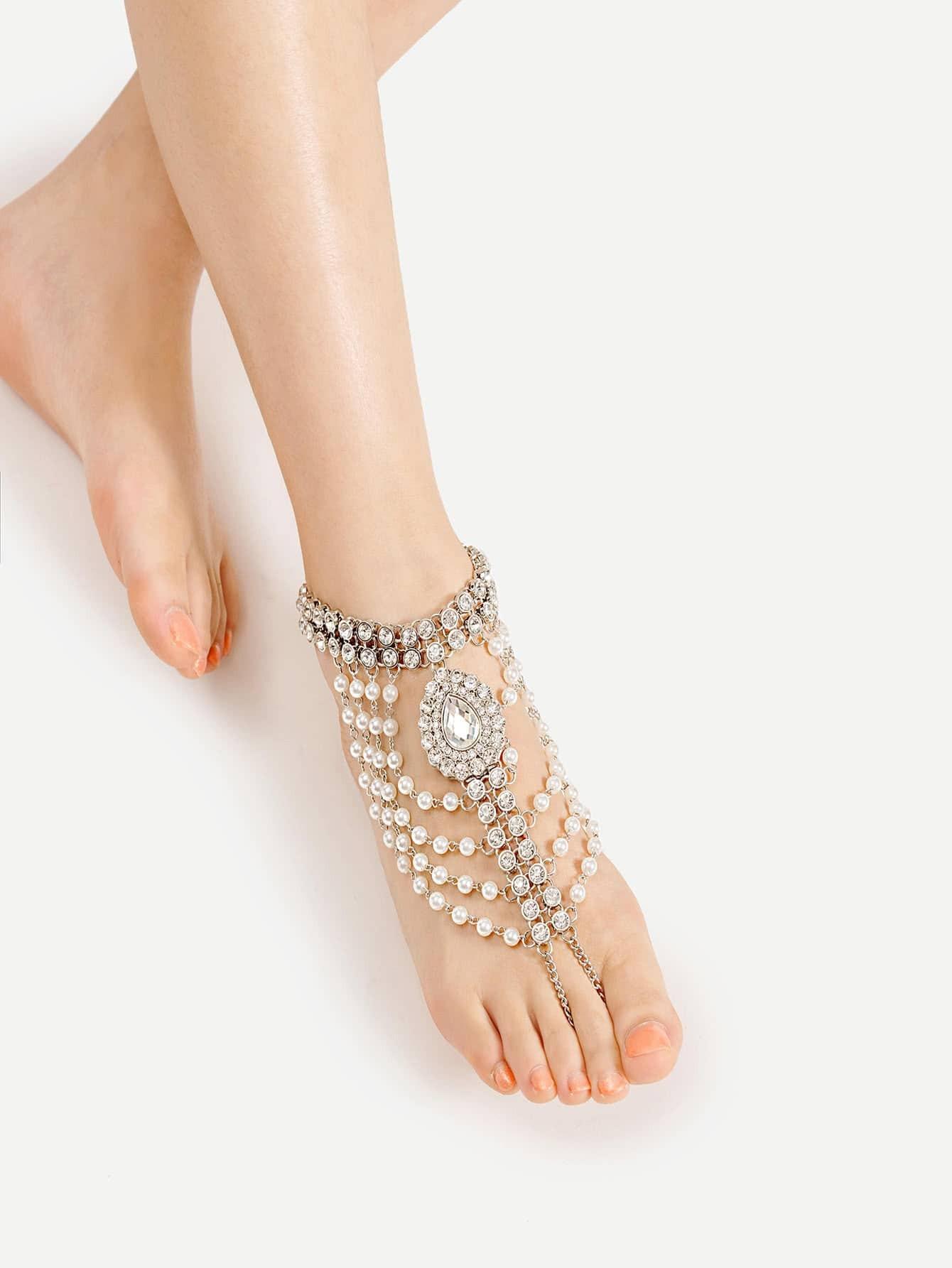 Фото Faux Pearl & Rhinestone Design Anklet With Toe Ring. Купить с доставкой