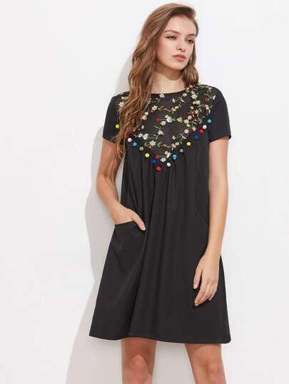 Pom Pom Trim Embroidered Mesh Yoke Dress