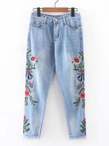 Jeans brodé fleur avec pan croquage