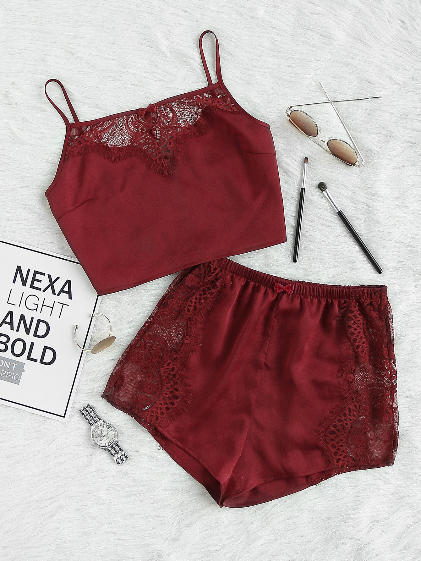Lace Insert Crop Cami And Shorts Pajama Set contrast lace cami with shorts pajama set