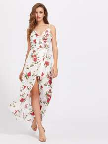 Cami Straps Ruffle Trim Maxi Dress
