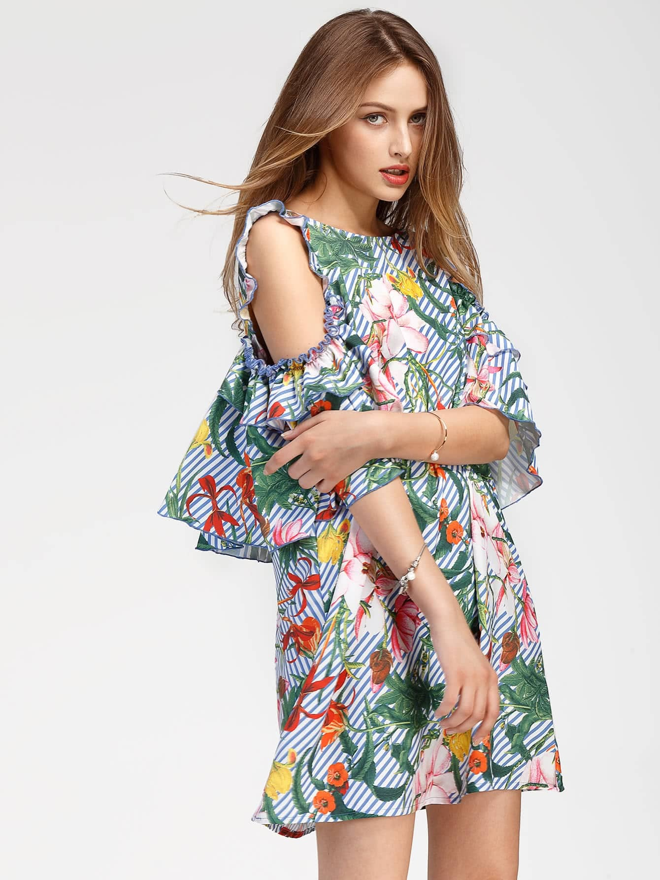 Tropical Print Open Shoulder Dress With Frill thumbnail