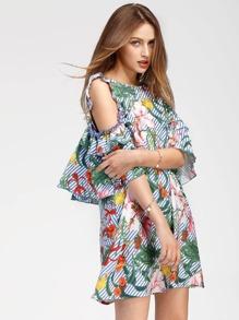Vestito con spalle scoperte e stampa tropicale