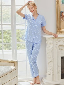 Heart Print Revere Collar Pajama Set