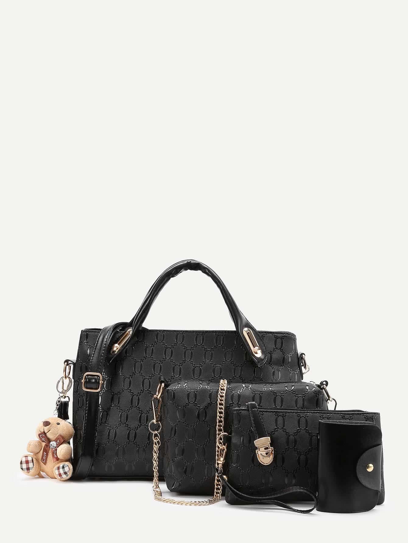 Faux Leather 4pcs Bag Set With Random Color Bear