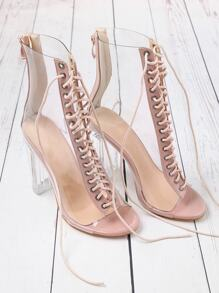 Lace Up Zipper Back Transparent Heels ROMWE