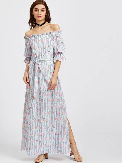Watermelon And Stripe Print Trumpet Sleeve Slit Bardot Dress