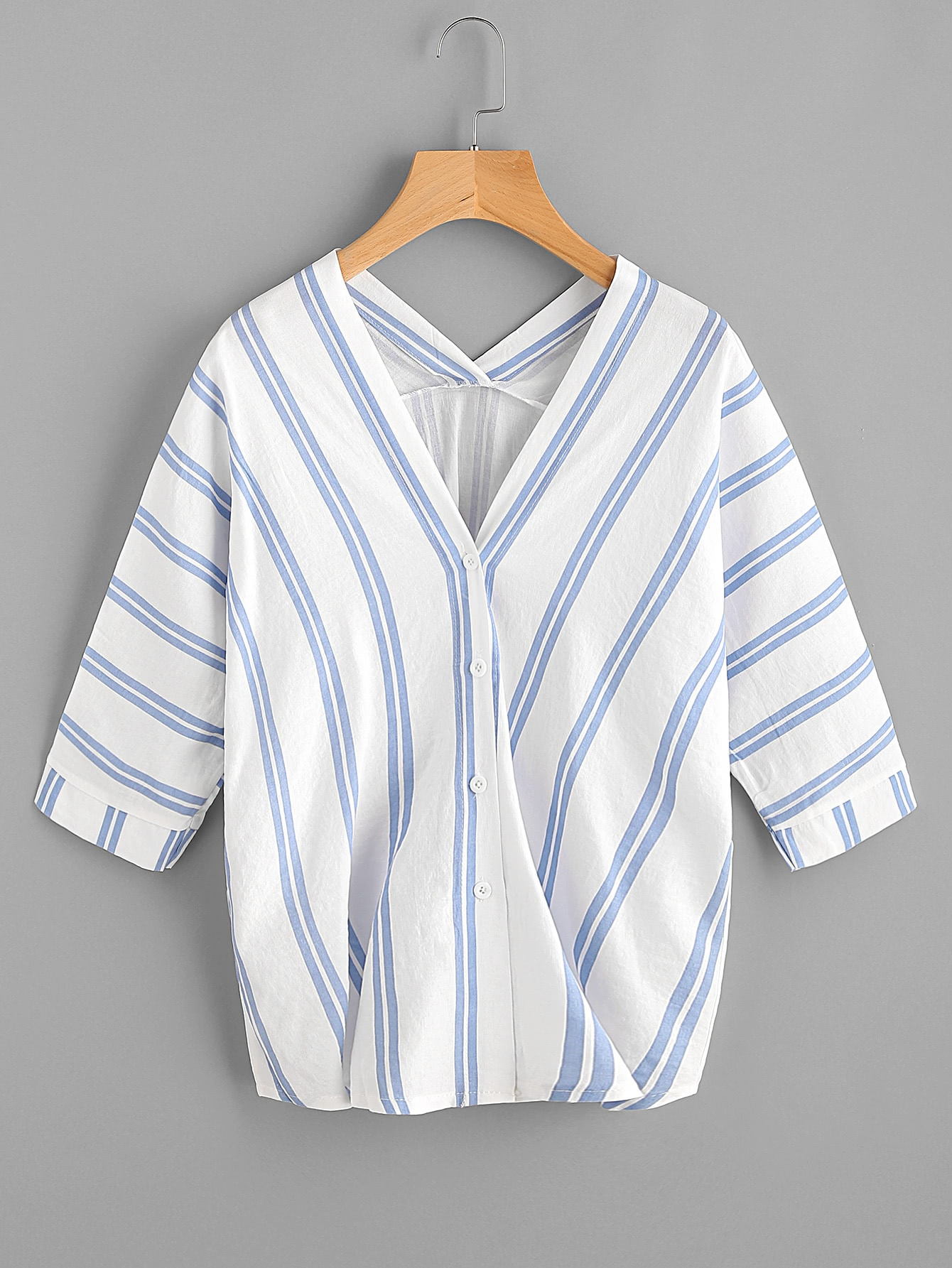 V-neckline Striped Blouse boat neckline striped blouse with buttons