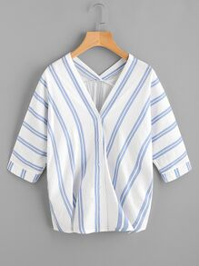V-neckline Striped Blouse