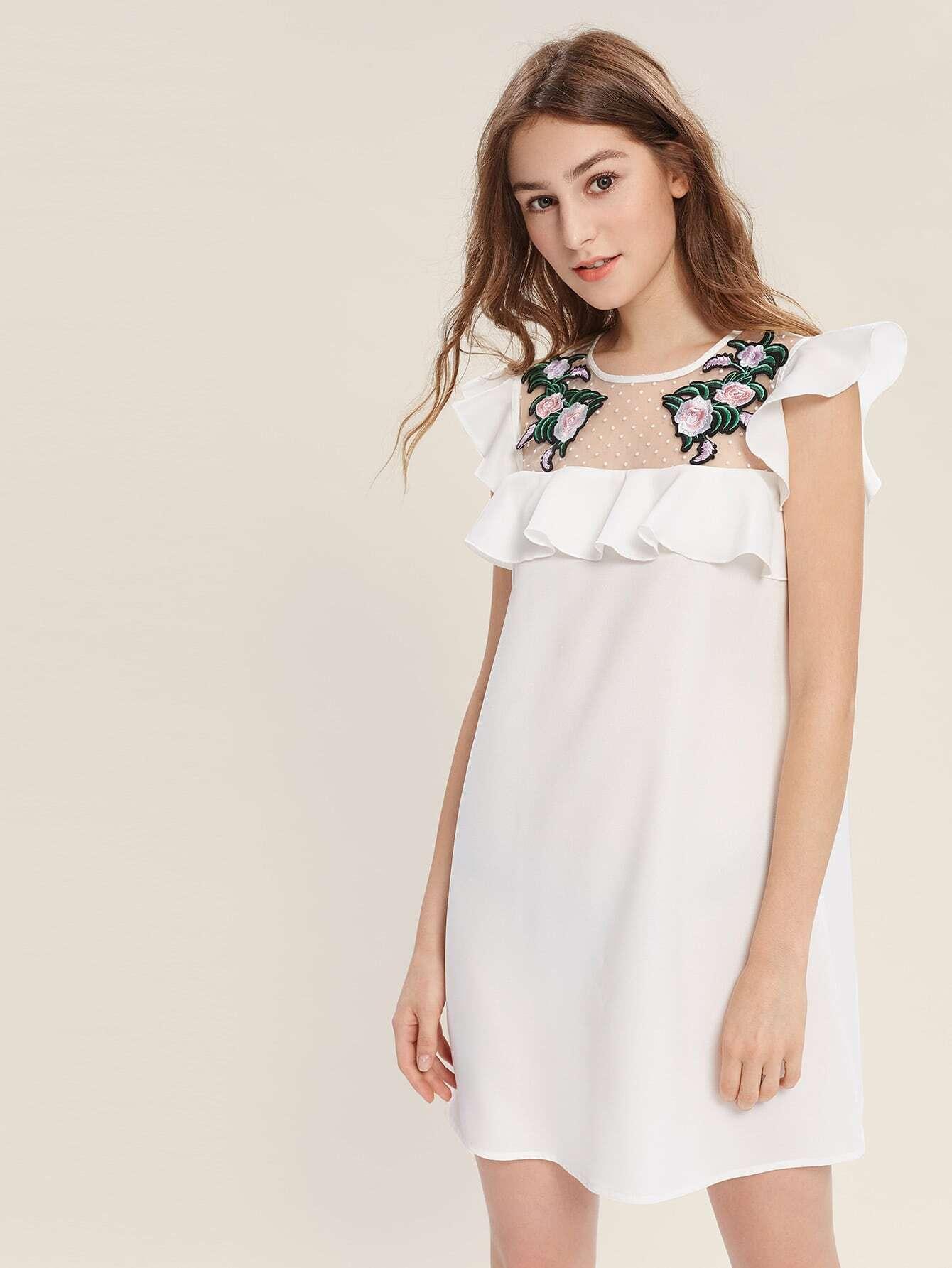 Фото Flower Patch Dot Mesh Yoke Flutter Sleeve Dress. Купить с доставкой