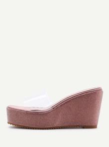 Sandales cale à talon avec lacet transparent