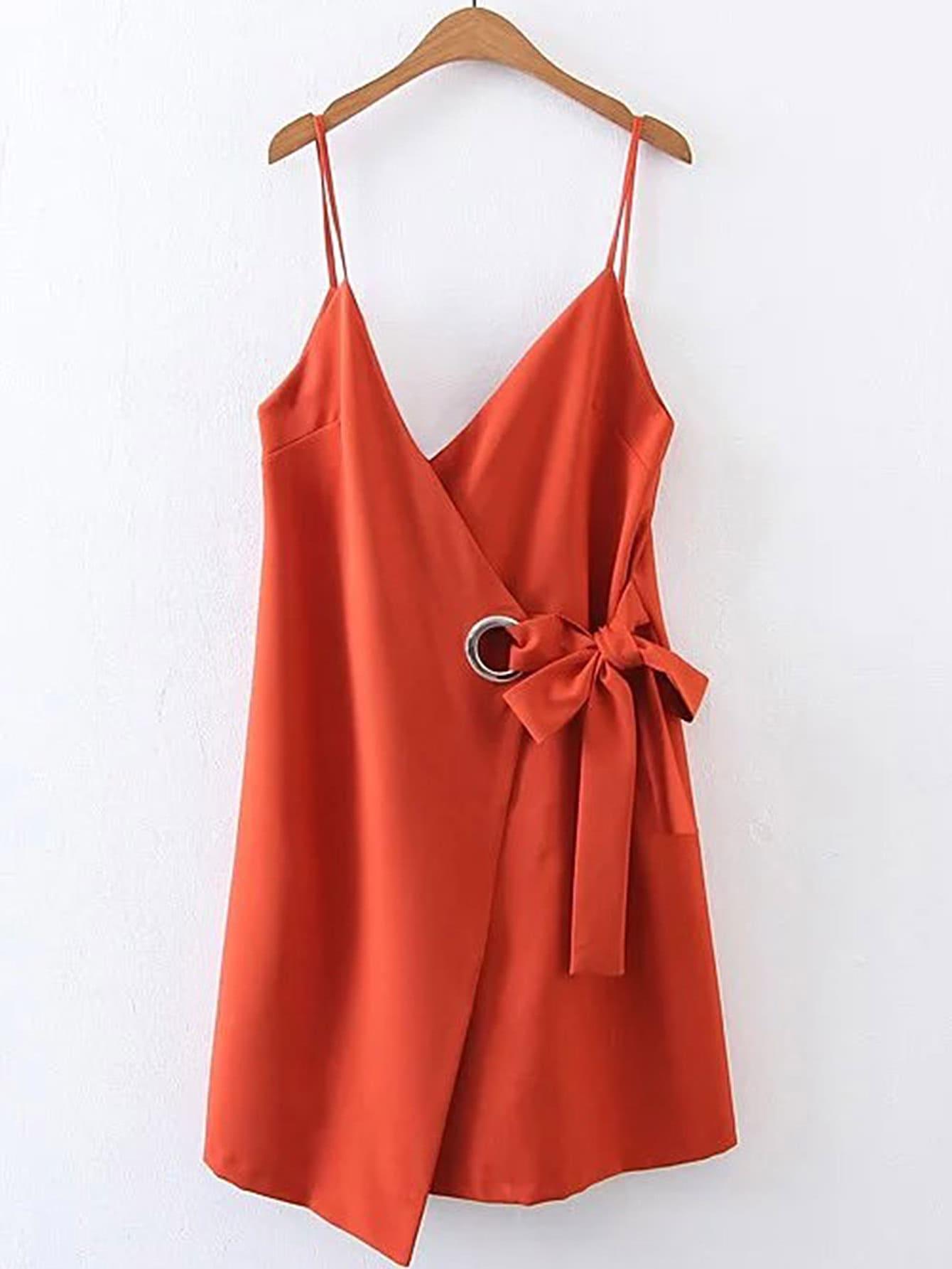 Фото Bow Tie Waist Cami Dress With Ring Detail. Купить с доставкой
