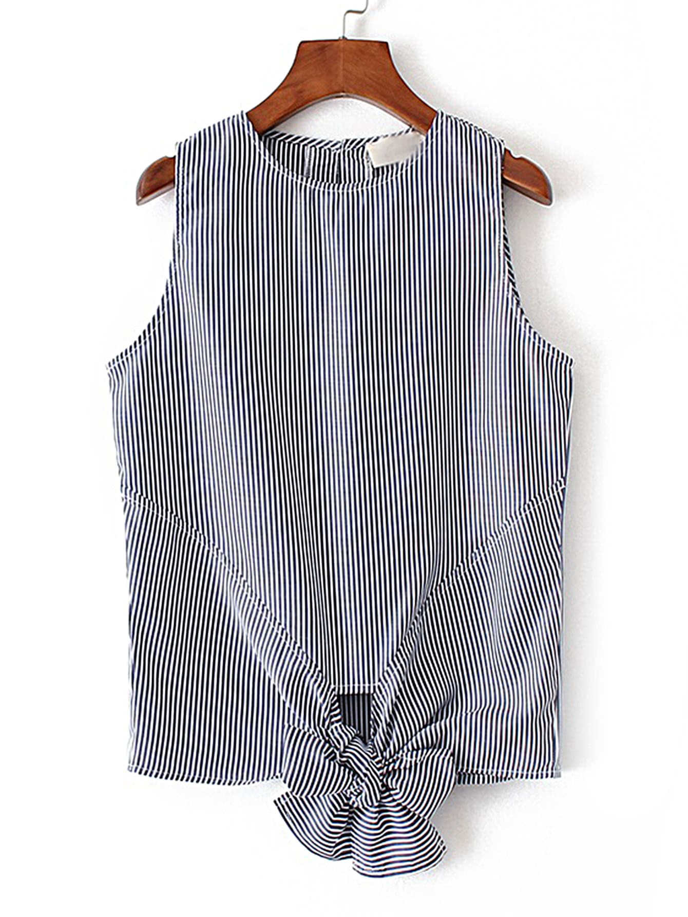 Vertical Striped Knot Front Sleeveless Top blouse170517204