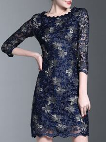 Gauze Flowers Embroidered Sheath Dress