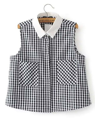 Contrast Collar Houndstooth Sleeveless Blouse
