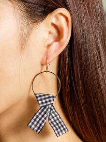 Check Knot Embellished Hoop Earrings
